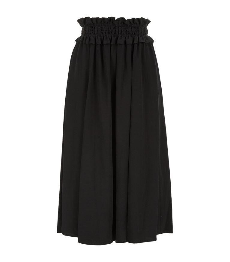 Claudie Pierlot Style Ruched Waist Midi Skirt In Noir
