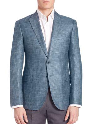 Giorgio Armani Bamboo Windowpane Sportcoat In Blue Grey