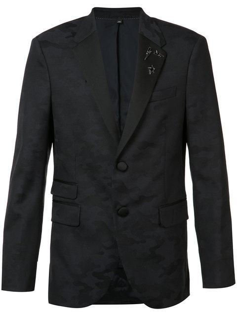 Neil Barrett Camouflage Trim Suit Jacket In Blue