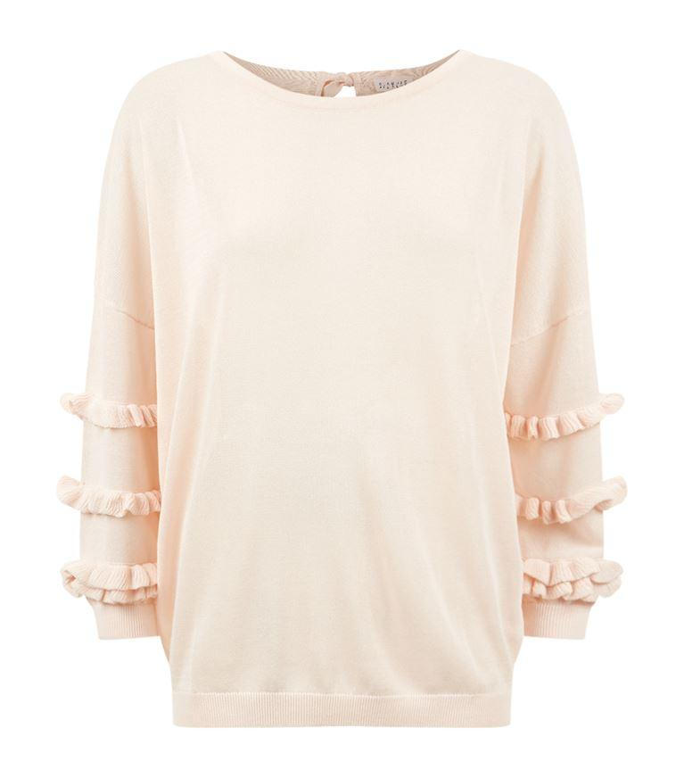 Claudie Pierlot Moon Ruffle Sleeve Jumper In Poudre