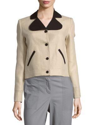 Carven Long-Sleeve Linen Jacket In Beige