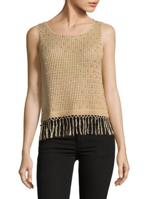 Alice And Olivia Tressa Fringed Knit Top In Natural