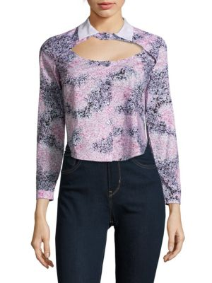 Carven Printed Long-Sleeve Cotton Shirt In Multicolor