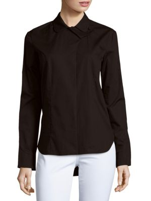 Carven Solid High-Low Shirt In Black