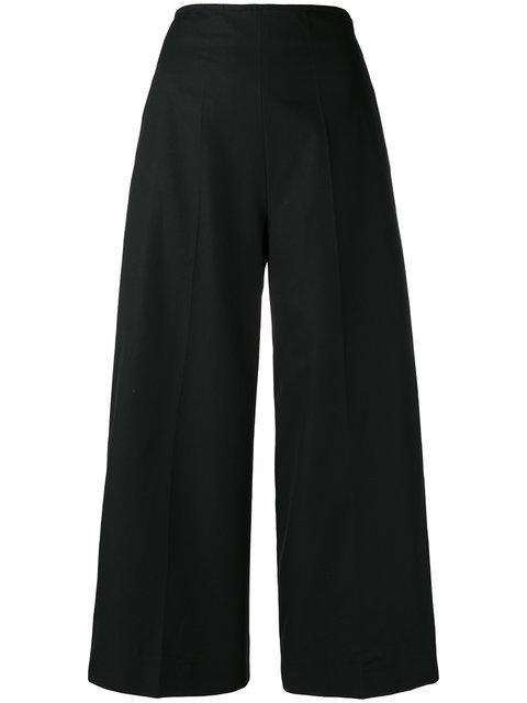 Msgm Wide Leg Cropped Trousers In Black