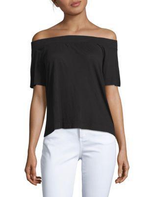 Ella Moss Solid Off-The-Shoulder Top In Black