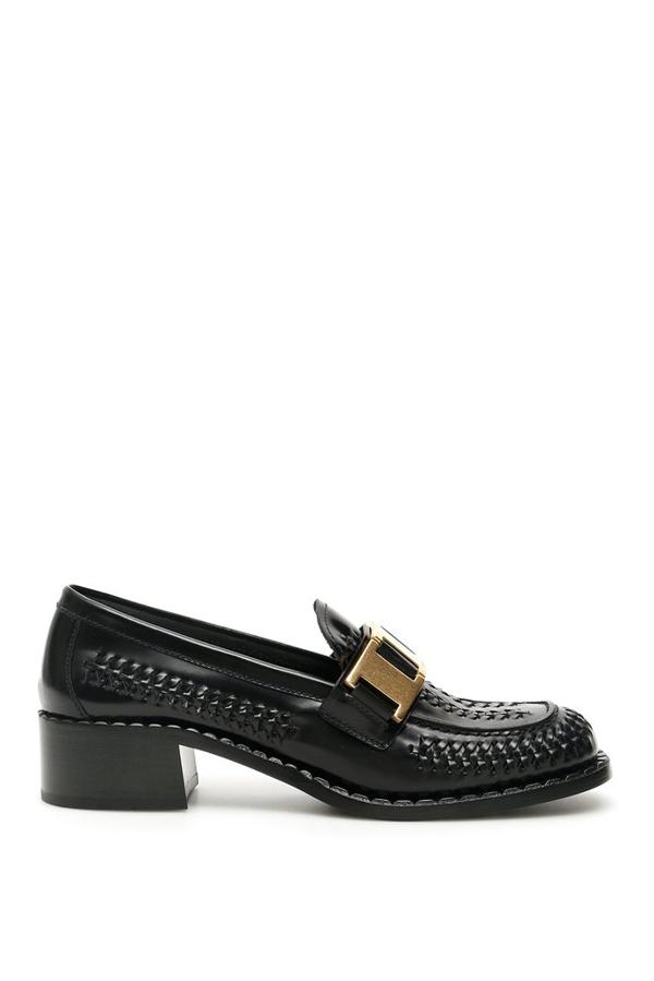 Prada Braided Loafers In Black