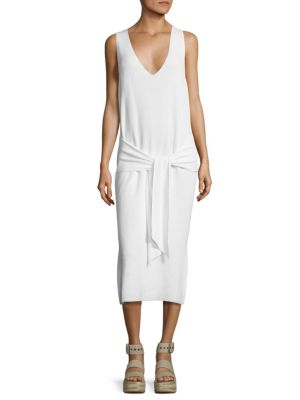 Rag & Bone Michelle Tie-Front Cotton Sweater Dress In White