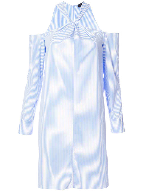 Rag & Bone Collingwood Cold-Shoulder Striped Cotton-Poplin Mini Dress In Blue