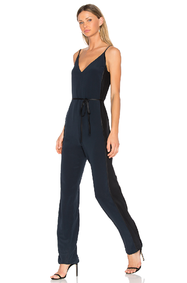 Rag & Bone Rosa Silky Jumpsuit In Black, Blue. In Salute