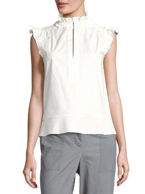 Rachel Zoe Solid Stand-Collar Top In Ecru