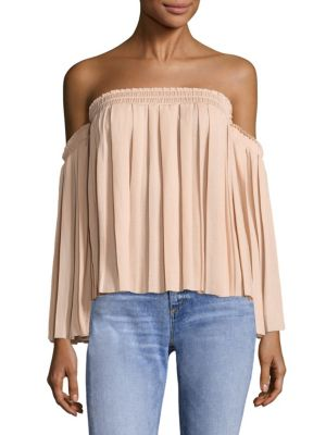 Elizabeth And James Emelyn Off-The-Shoulder Pleated Top, Light Beige In Burlap
