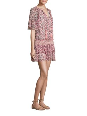 Rebecca Minkoff Pebble Floral-Print Drop-Waist Dress, Pink In Poppy Print