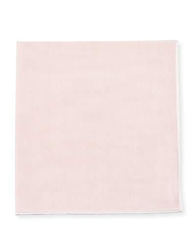 Tom Ford Solid Pocket Square With Contrast Border, Pink/White