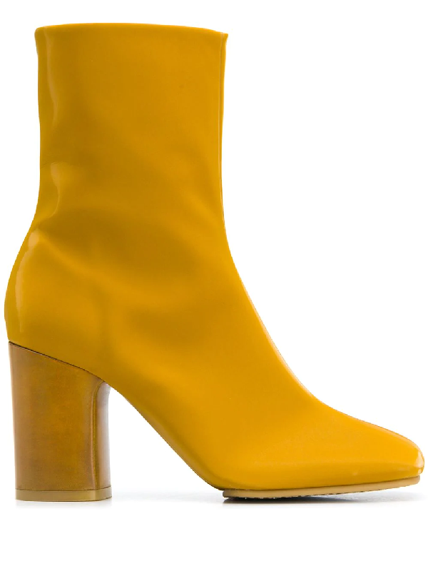 Acne Studios Vinyl Ankle Boots Mustard Yellow
