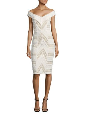 Cinq À Sept Aveline Off-The-Shoulder Lace Dress In Ivory