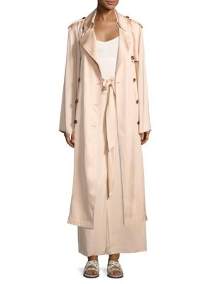 Elizabeth And James Dakotah Double-Breasted Drapey Trench Coat In Nude