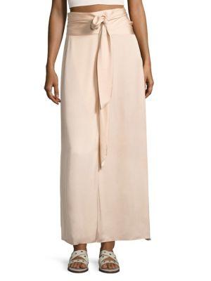 Elizabeth And James Almeria Wrap-Tie Maxi Skirt W/ Slit, Blush In Meadow
