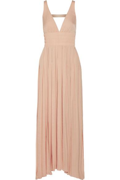 Elizabeth And James Ellison Sleeveless Smocked-Waist Gathered Dress, Light Beige In Blush