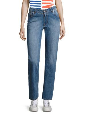 Opening Ceremony Dip Mid-Rise Straight-Leg Jeans In Light Blue