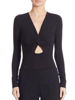 T By Alexander Wang Twist-Front Long-Sleeve Jersey Bodysuit, Black