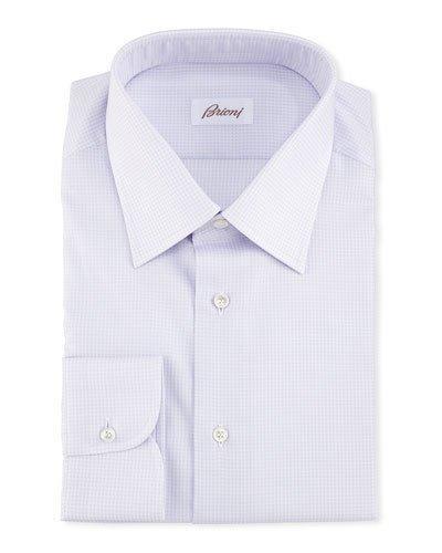 Brioni Textured Dress Shirt, Lavender In Purple