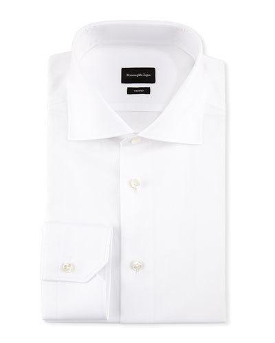 Ermenegildo Zegna Trofeo&Reg; Slim-Fit Tonal-Stripe Dress Shirt, White