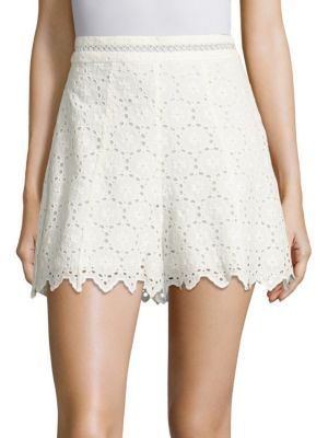 Zimmermann Divinity Wheel Broderie Anglaise Cotton Shorts In Ivory