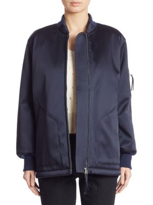 T By Alexander Wang Oversized Satin Bomber Jacket In Navy