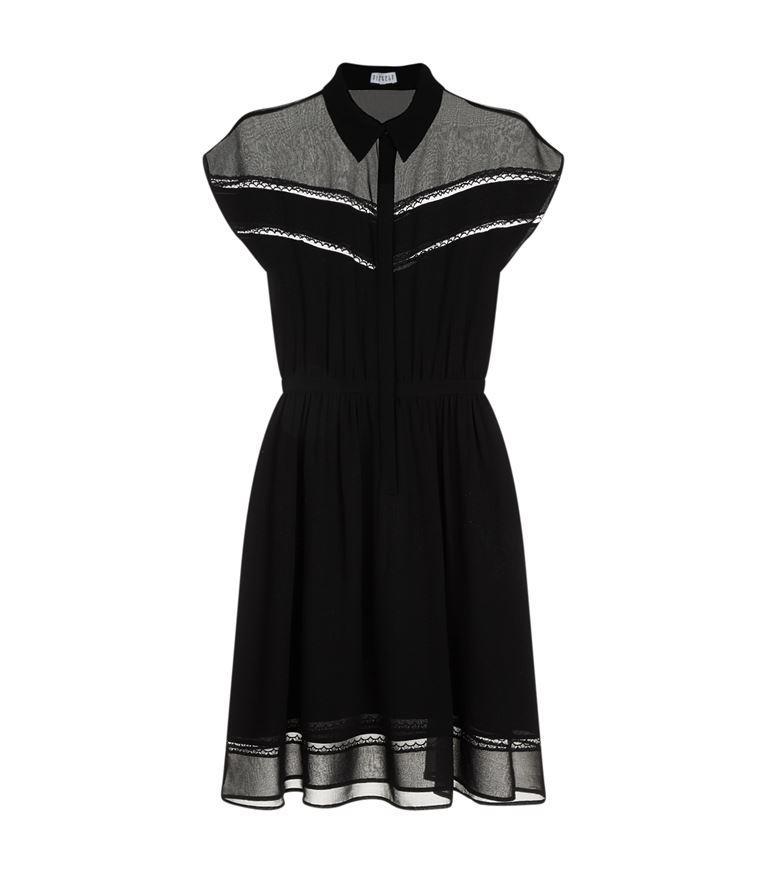 Claudie Pierlot Riva Lace And Chiffon Dress In Noir