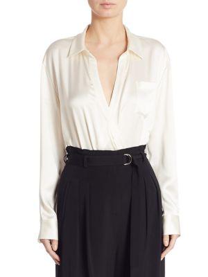 T By Alexander Wang Ivory Silk Shirt Bodysuit White