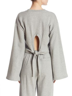 T By Alexander Wang Tie-Back Cropped Cotton-Blend Jersey Sweatshirt In Heather Grey