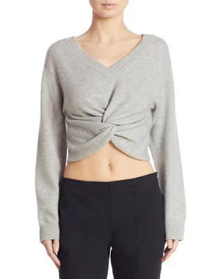 T By Alexander Wang Twist-Front Wool-Cashmere Crop Sweater In Heather Grey