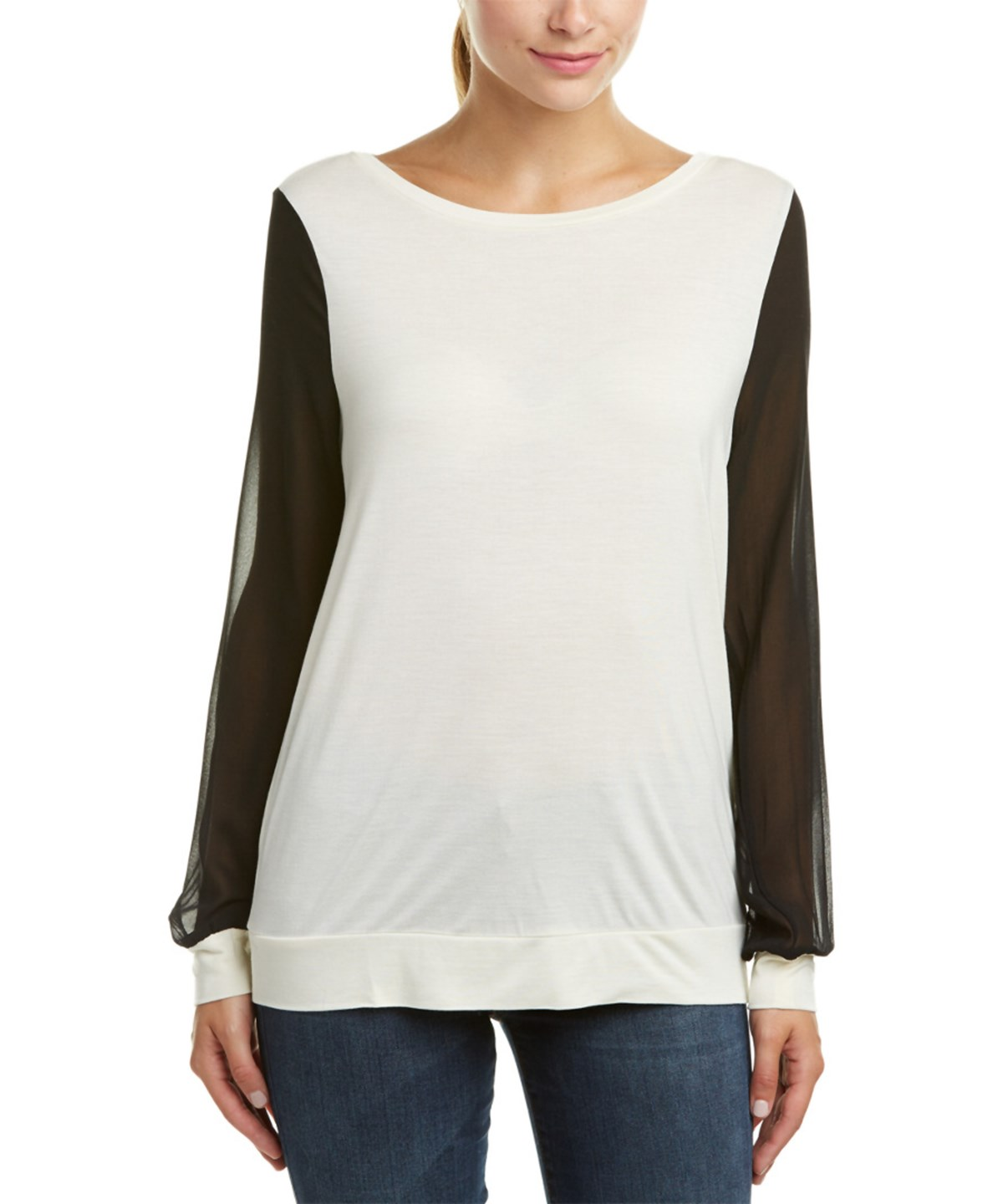 Haute Hippie Contrast Sleeve Pullover In White