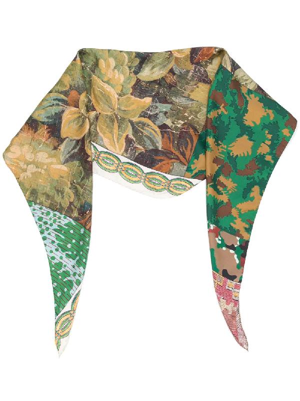 Pierre-louis Mascia Aloe Mix-print Scarf In Green