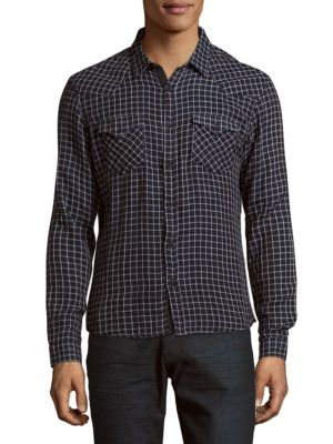 The Kooples Long-Sleeve Check Casual Shirt In Blue