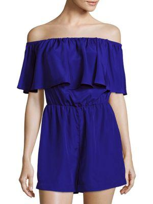 Amanda Uprichard Kiara Ruffled Off-The-Shoulder Jumpsuit In Ultramarine