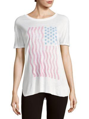 Chrldr Usa Flag Printed Roundneck Tee In White