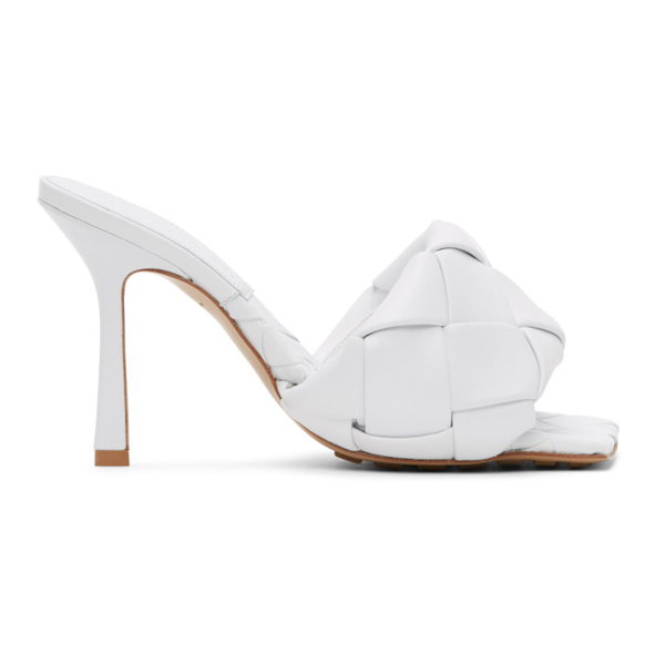 Bottega Veneta White Intrecciato Lido Heeled Sandals In 9122 Optwh