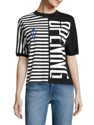 Opening Ceremony Black Striped Stretch Logo T-Shirt In Black Multi