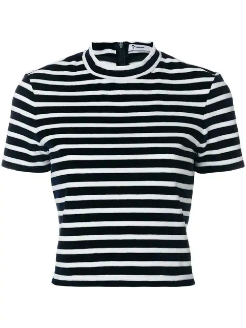 T By Alexander Wang Striped Mockneck Cropped Top In Blue