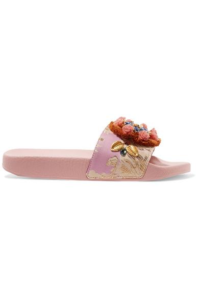 Dolce & Gabbana Embellished Jacquard Slides In Brown
