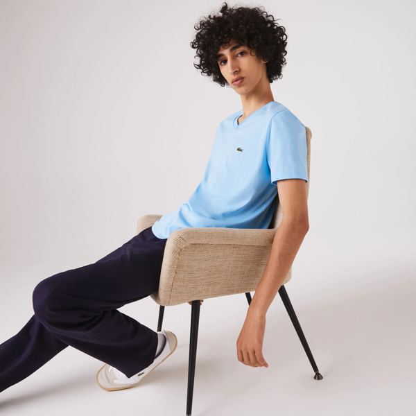 Lacoste Men's V-neck Pima Cotton Jersey T-shirt In Panorama