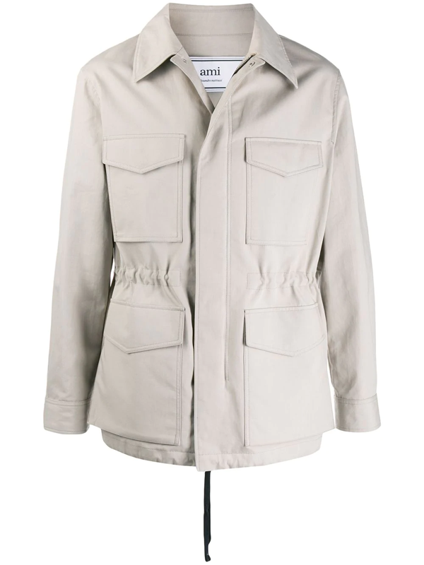 Ami Alexandre Mattiussi Patch Pockets Bonded Parka In Neutrals