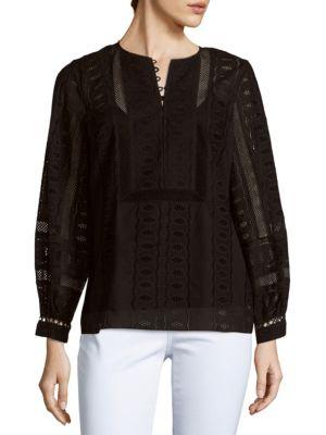 Oscar De La Renta Long-Sleeve Cotton Top In Black