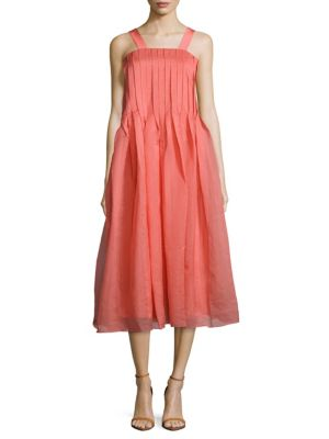 Tibi Squareneck Pleated Dress In Pink