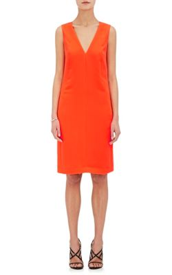 Narciso Rodriguez Deep-Armhole V-Neck Shift Dress, Bright Orange In Neon