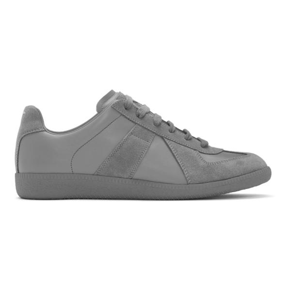 Maison Margiela Men's Replica Leather Low-top Sneakers In 850 Grafite