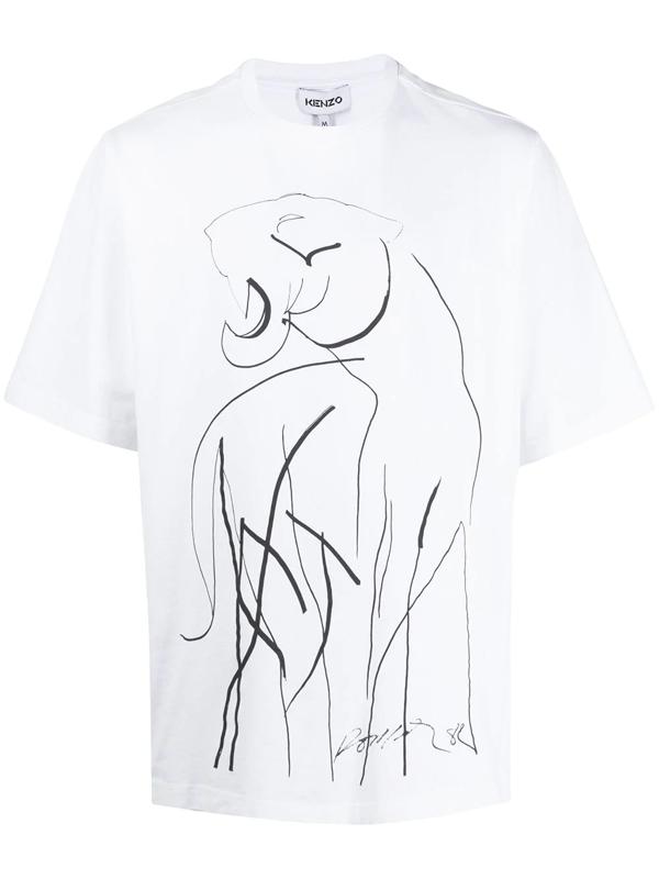 Kenzo Tiger Crewneck Cotton T-shirt In 1 White