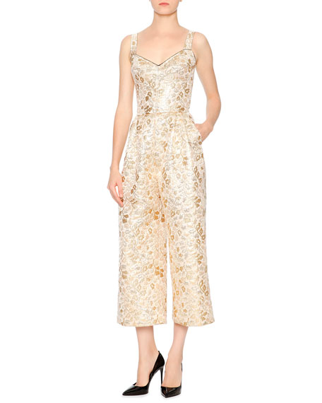 Dolce & Gabbana Woman Metallic Embroidered Faille Jumpsuit Gold